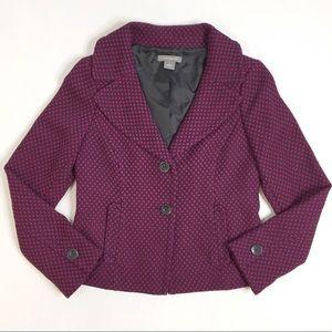 Ann Taylor Polka Dot Textured Career Blazer Jacket